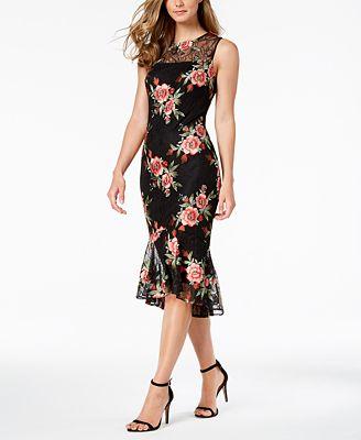 Calvin Klein Embroidered Lace Illusion Sheath Dress Dresses