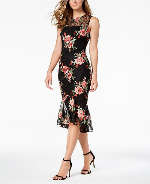 23c0506f3526 Calvin Klein Embroidered-Lace Illusion Sheath Dress   Reviews ...