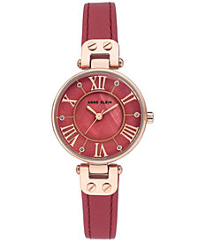 Anne Klein Women's Berry Leather Strap Watch 30mm