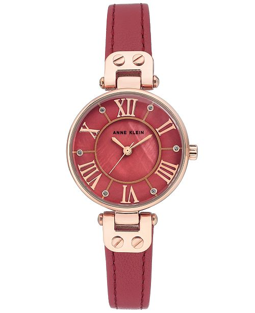 e0963afd354 Anne Klein Women's Berry Leather Strap Watch 30mm & Reviews ...