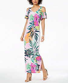 MSK Floral-Print Cold-Shoulder Maxi Dress