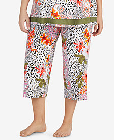 Ellen Tracy Plus Size Cropped Floral-Print Pajama Pants