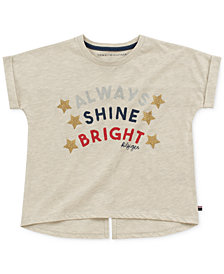 Tommy Hilfiger Big Girls Rolled Cuff Graphic-Print T-Shirt