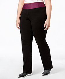 Ideology Plus Size Rapidry Open-Leg Yoga Pants, Created for Macy's