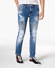 INC Men's Destructed Moto Skinny Jeans, Created for Macy's