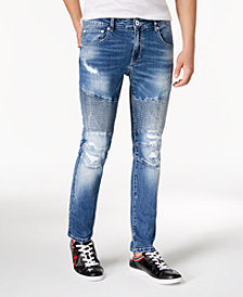 I.N.C. Men's Destructed Moto Skinny Jeans, Created for Macy's