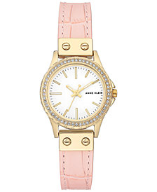 Anne Klein Women's Light Pink Leather Strap Watch 29mm