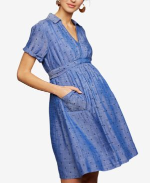 Image of A Pea In The Pod Maternity Chambray Shirtdress