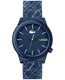 Men's Motion Navy Blue Printed Silicone Strap Watch 41mm