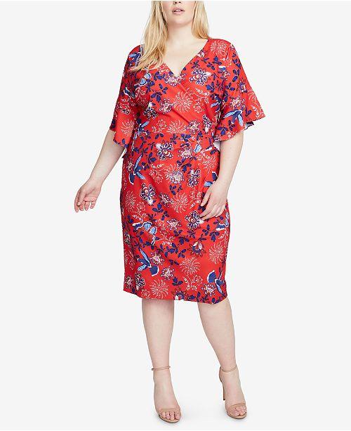 RACHEL Rachel Roy Plus Size Printed Faux-Wrap Dress - Dresses ...