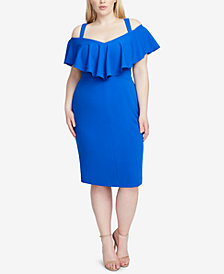 RACHEL Rachel Roy Plus Size Marcella Flounce Cold-Shoulder Dress
