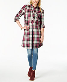 Ultra Flirt By Ikeddi Juniors' Plaid Tie-Front Tunic