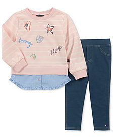 Tommy Hilfiger Little Girls 2-Pc. Layered-Look Top & Denim Leggings Set