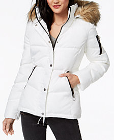 Madden Girl Juniors' Faux-Fur-Trim Puffer Coat