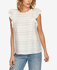 1.STATE Striped Flounce-Sleeve Top