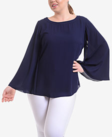 NY Collection Plus Size Cape-Sleeve Top