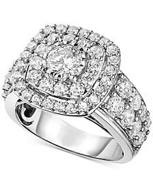 Diamond Halo Ring (3 ct. t.w.) in 14k White Gold