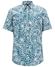BOSS Men's Regular/Classic-Fit Tropical-Print Cotton Shirt