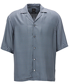 BOSS Men's Relaxed-Fit Printed Silk Shirt
