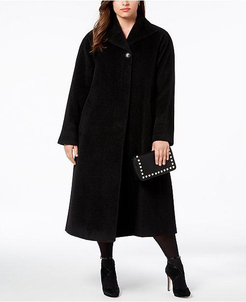 b459a09cb0b Jones New York Plus Size Wool-Blend Maxi Walker Coat   Reviews ...