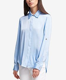 DKNY Double-Collar Button-Up Shirt, Created for Macy's