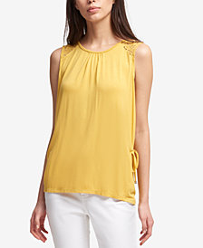 DKNY Lace-Yoke Side-Tie Tank Top, Created for Macy's