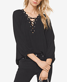 MICHAEL Michael Kors Lace-Up Grommetted Top