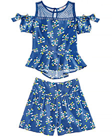 Kandy Kiss Big Girls 2-Pc. Floral-Print Cold Shoulder Top & Shorts Set