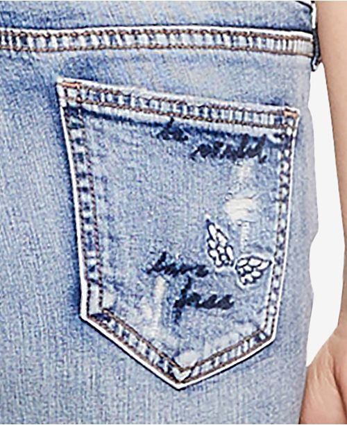 Jeans Slim Cropped Jeans Embroidered Silver Co Indigo Elyse nwP4qxS1Z