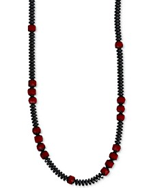 "Men's Hematite (4mm) & Glass Bead 22"" Statement Necklace in Sterling Silver"