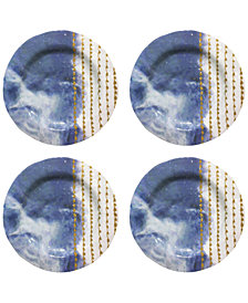 Jay Imports Soiree Blue Melamine Dinner Plates, Set of 4