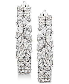 Arabella Swarovski Zirconia Hoop Earrings in Sterling Silver