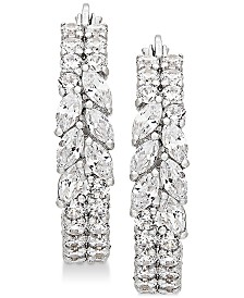 Arabella Swarovski Zirconia Hoop Earrings in Sterling Silver