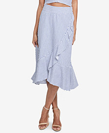 RACHEL Rachel Roy Esta Ruffled Cotton Pinstripe Skirt, Created for Macy's