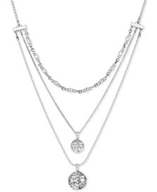 "Lucky Brand Silver-Tone Multi-Layer Coin-Look Pendant Necklace, 16.5"" + 2"" extender"
