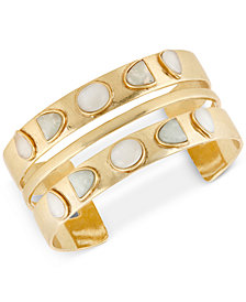 Lucky Brand Gold-Tone Stone Double-Row Cuff Bracelet