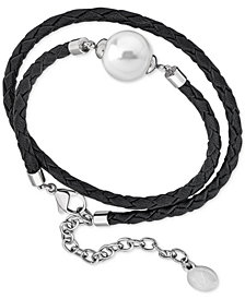 Majorica Silver-Tone Imitation Pearl Braided Leather Double-Wrap Bracelet
