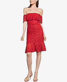 BCBGMAXAZRIA Off-The-Shoulder Lace Overlay Dress