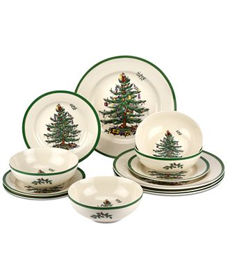 Product Details A Holiday Tradition This  Piece Christmas Tree Dinnerware Set Bears Spodes