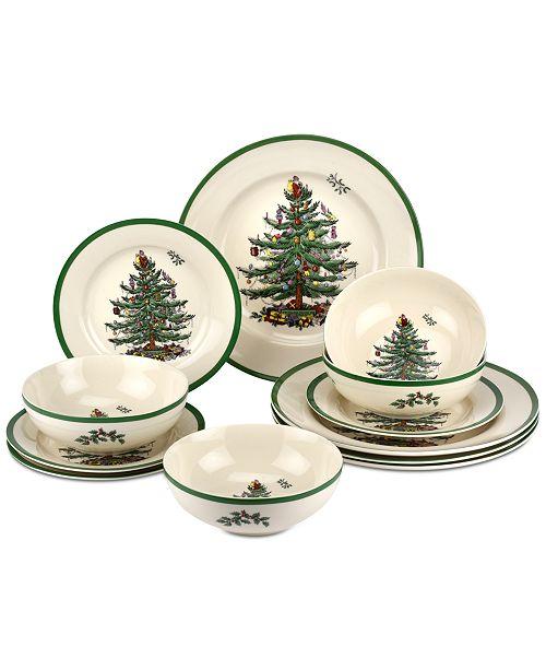 Spode Christmas Plates.Christmas Tree 12 Pc Dinnerware Set Created For Macy S