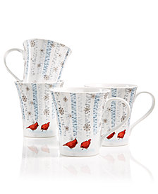 222 Fifth Cardinal in the Woods Set of 4 Mugs
