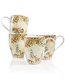 222 Fifth First Snow Mugs, Set of 4