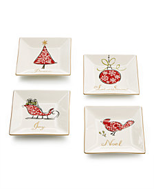 222 Fifth Natala Set of 4 Square Appetizer Plates