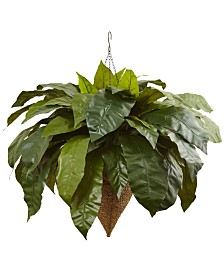 """Nearly Natural 30"""" Giant Bird's Nest Fern Artificial Plant in Cone-Shaped Hanging Basket"""