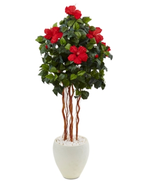 Nearly Natural 45 Hibiscus Artificial Tree in White Oval Vase