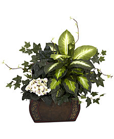 Nearly Natural African Violet, Dieffenbachia & Ivy Artificial Plants in Chest Planter