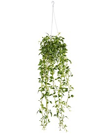Nearly Natural Green Variegated Wandering Jew Artificial Plant Hanging Basket