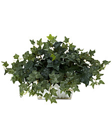 Nearly Natural Ivy Artificial Plant in White-Washed Planter