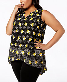 Alfani Plus Size Printed Split-Neck High-Low Top, Created for Macy's