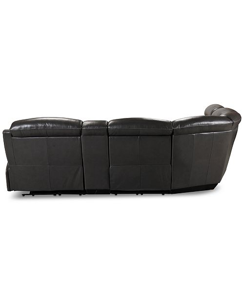 Midori 6 Pc Leather Power Reclining Sectional Sofa: Furniture Winterton 6-Pc. Leather Sectional Sofa With 3